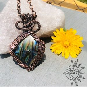 Handmade Abalone Shell Copper Pendant Necklace